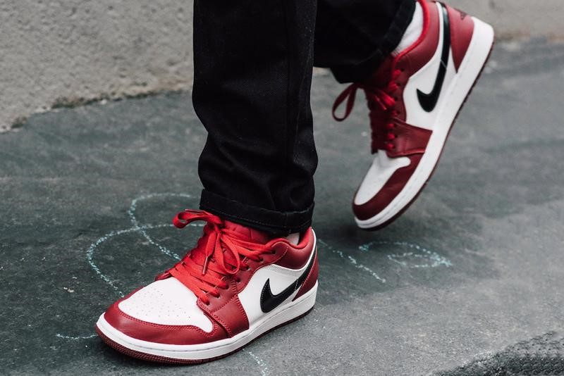 Red and white Air Jordan 1s